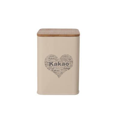 Dóza plech/dřevo 9,5x9,5x14 cm KAKAO SRDCE