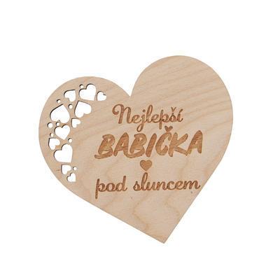 Podtácek dřevo BABIČKA 12x11 cm 1 ks