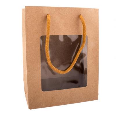 Taška dárková s průhledem 18x8,5x24 cm NATURE