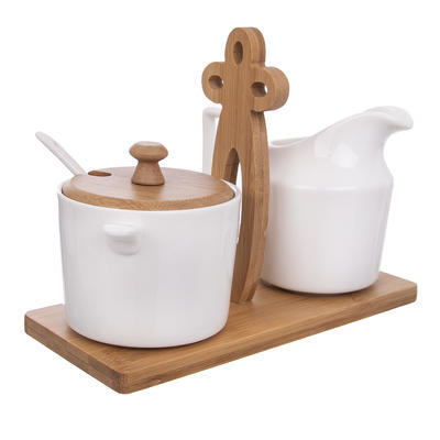 Mlékovka+cukřenka porc.+stojan bambus WHITELINE