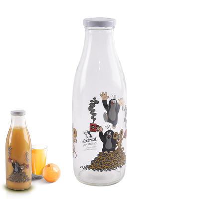 Láhev sklo+víčko na mléko 1l KRTEK