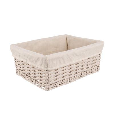 Košík proutí/bavlna 29x19x12 cm BÉŽOVÝ