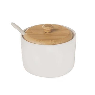 Cukřenka porc./dřevo+lžička WHITELINE pr. 9,5 cm