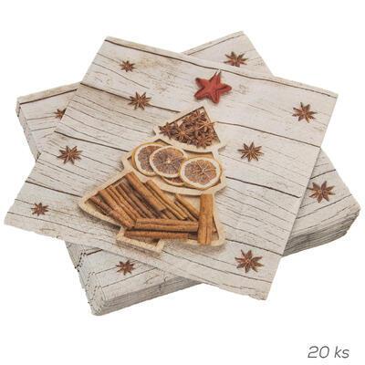 Ubrousek papír Stromeček+skořice 20 ks 33x33 cm