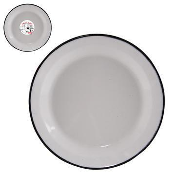 Talíř smalt mělký bílý 24 cm