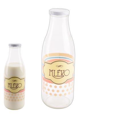 Láhev sklo+víčko na mléko 1l tečky