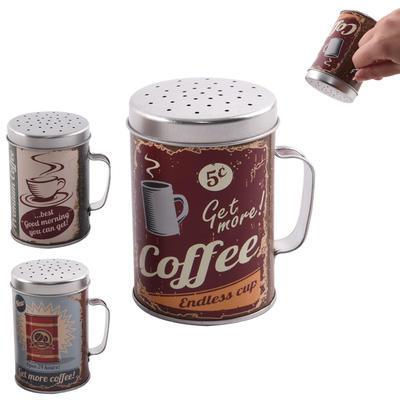 Dóza plech cukřenka COFFEE pr. 6,5cm ASS