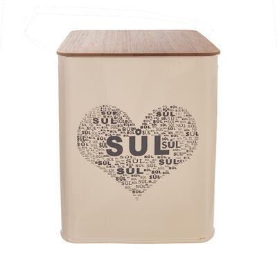 Dóza plech/dřevo 11,5x11,5x14 cm Sůl SRDCE