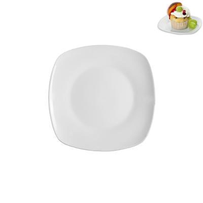 Talíř porc.des.malý hran.bílý