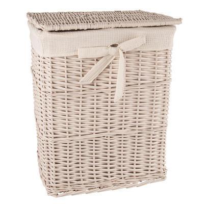 Koš na prádlo proutí/bavlna 45x35x56 cm BÉŽOVÝ