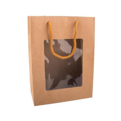 Taška dárková s průhledem 14x7x18 cm NATURE