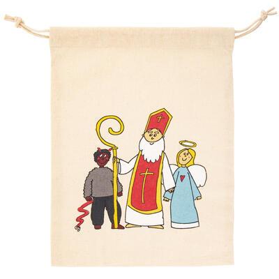 Sáček bavlna zatahovací Mikulášský 35x26 cm