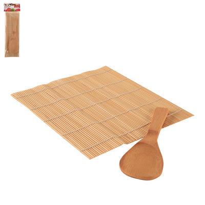 Podložka na sushi+lžíce dřevo